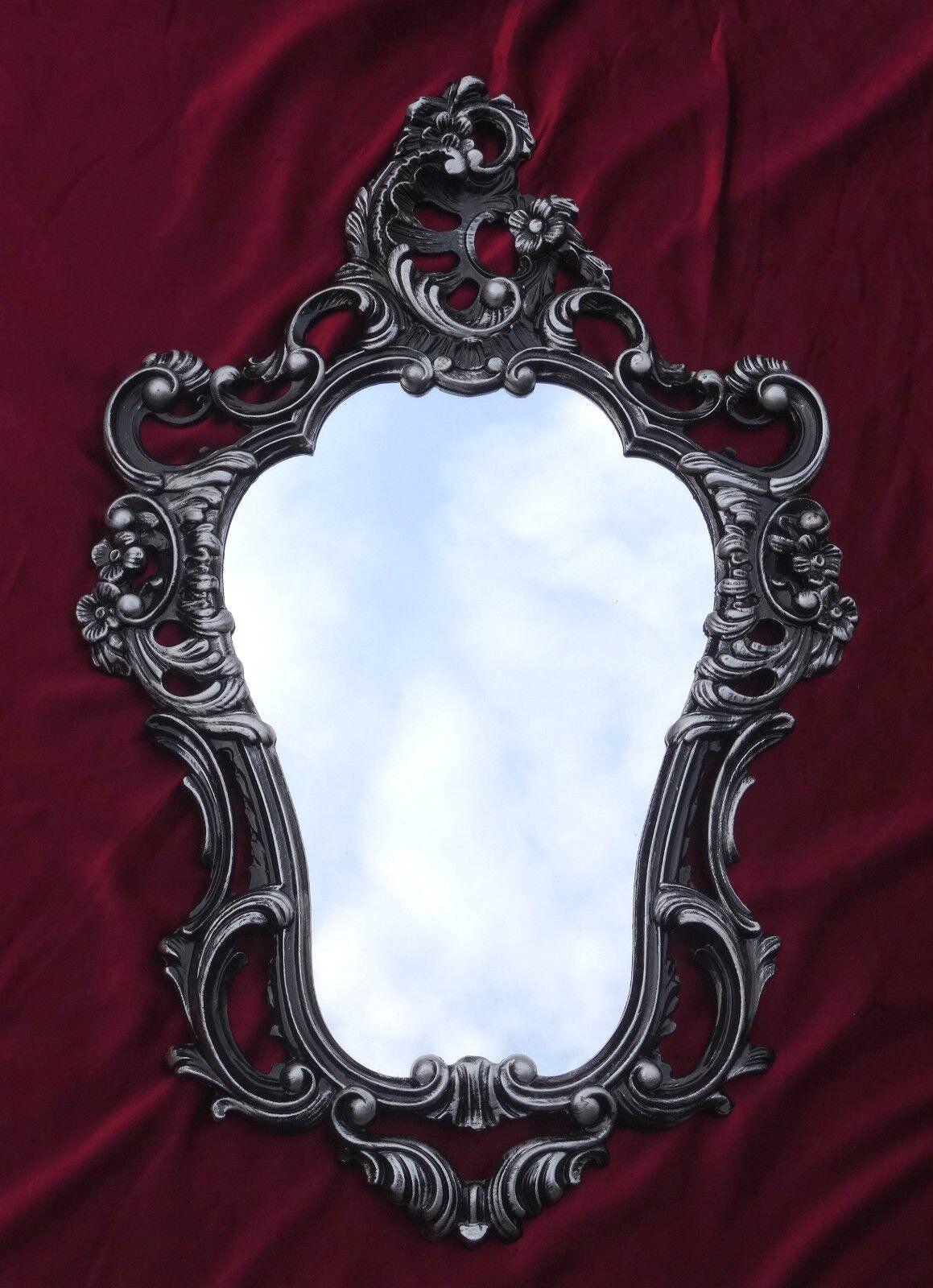 Exclusive Wall Mirror In Black Silver Dual Color Oval Antique Baroque Wardrobe 50 X 76 Cm
