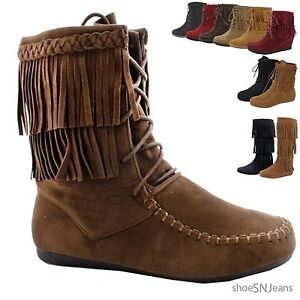 NEW-Women-Fashion-Comfy-Lace-Up-Fringe-Ankle-High-Boot-Moccasin-Flat-Heel-Shoes