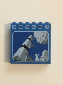 LEGO VTG Space Blue Brick 1 x 6 x 5 with LL2079 Rocket and Moon Pattern 6970