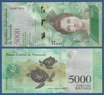 Paper Money: World 97 B Skillful Manufacture Amiable Venezuela 5000 Bolivares 23.3.2017 Unc P