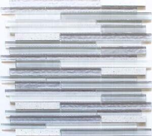 Glasmosaik Stabchen Riemchen Stick Weiss Grau Kuchenruckwand 86