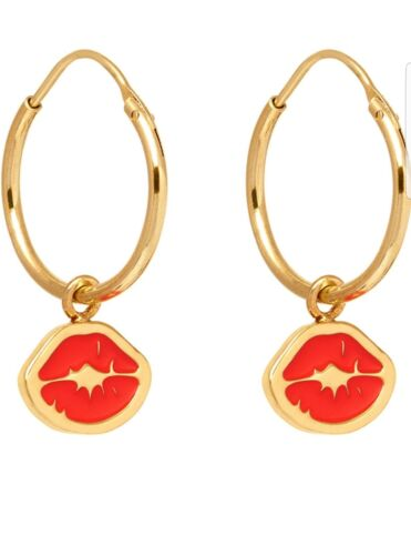 Maria Francesca Pepe Gold Plated Brass Red Kiss//Lips Stamp Charm Hoop Earrings