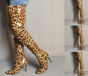 Women-Pointy-Toe-High-Stiletto-Heel-Shoes-Over-Knee-Thigh-Boots-Side-Zip-Leopard