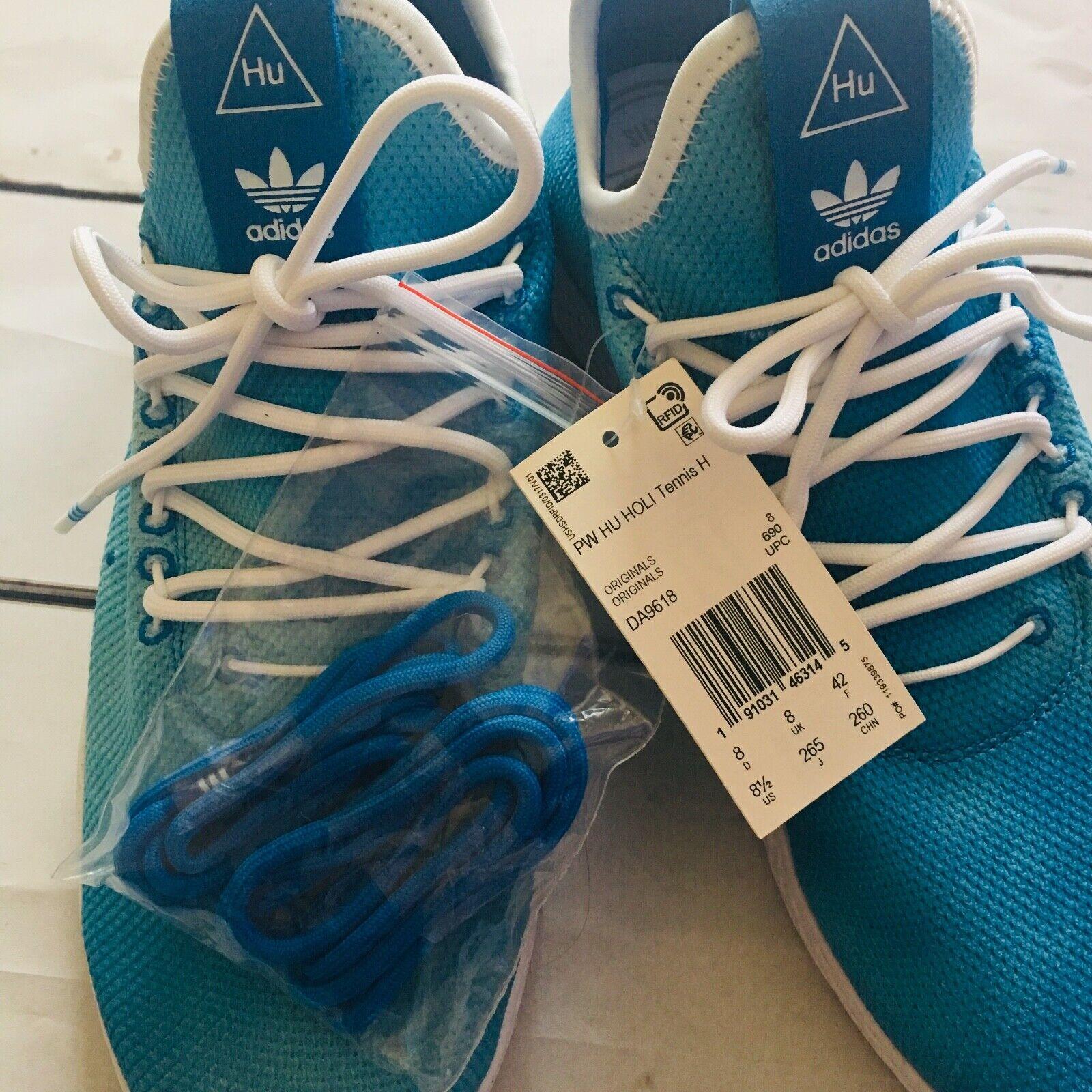 NEW Mens Adidas Pharrell Williams bluee Hu Holi Tennis Sneaker DA9618 Size 8.5