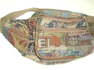 7f41c986 Image is loading Vtg-Pioneer-Express-Tapestry-Fanny-Pack-Adjustable-waist-