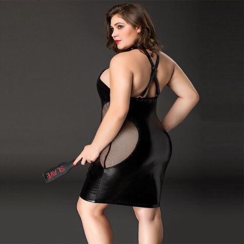 Plus Size Provokativer Lack und Netz schwarzer Kleidchen mit Riemen