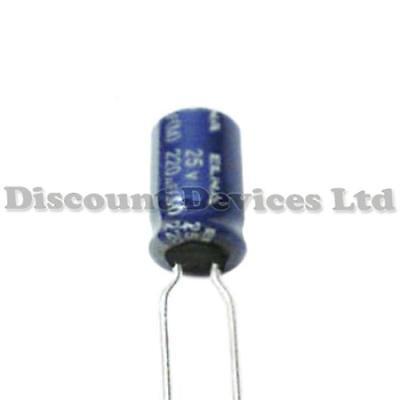 10x PCB 220uF 25V Electrolytic Capacitor 85C 8x12mm