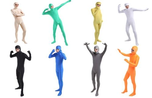 Adult Men Open Face Zentai Second Skin Tights Bodysuits Spandex Lycra Jumpsuits