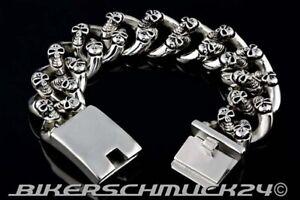 Totenkopf-Armband-Mammut-Groesse-2XL-Gross-Edelstahl-2-5cm-breit-Skull-Bikerschmuck