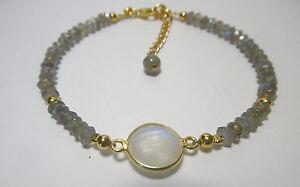 Labradorit-und-Mondstein-Armband-925-Silber-vergoldet