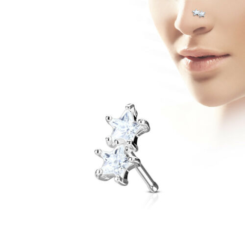 Bone Ring Prong set CZ Twin Star 316L Surgical Steel Nose Stud