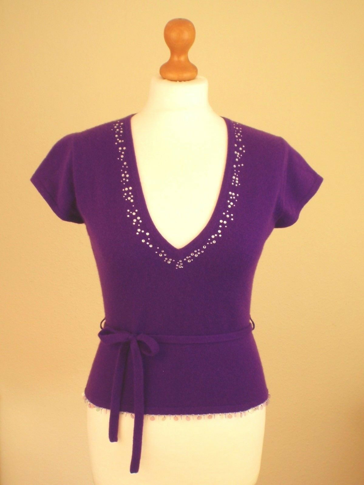 Whistles Sz 'S' Small 8 10 12 100% Cashmere Jumper Tank Top Purple Diamante Belt