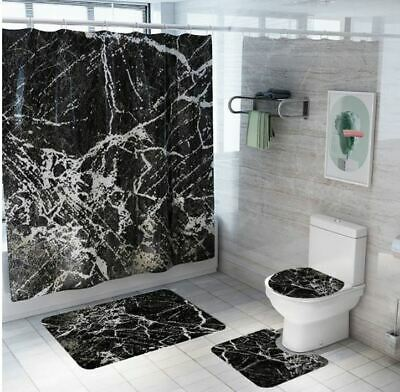 3d Black Marble Bathroom Shower Curtain, Marble Bathroom Set With Shower Curtain