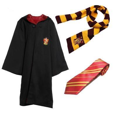 Harry Potter Robe+Schal+Krawatte Uniform Komplett Karneval kostüm Cosplay Suit