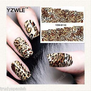 nail art water decals wraps brown animal leopard print