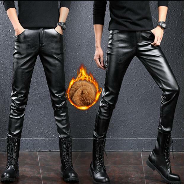 Punk Mens Casual Winter Warm PU Leather Skinny Gothic Pants Trousers Fur Lined V