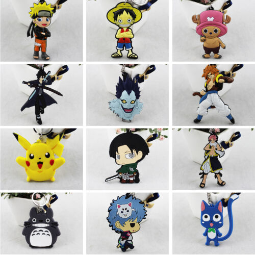Anime Fans Cute Pinched PVC Keychain Cartoon Keyring Death Note Fairy Tail Gift