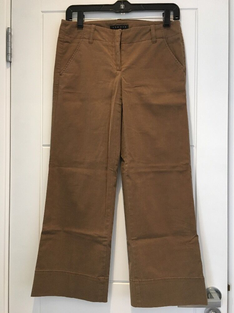 THEORY Cropped Short Trousers Brown Cotton US 0 2 S Small Medium