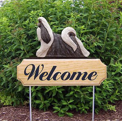 Shih Tzu Dog Breed Oak Wood Welcome Outdoor Yard Sign Silver/White