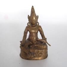 ANTIQUE HEAVY CAST BRASS HINDU/BUDDHIST SEATED DEITY STATUE