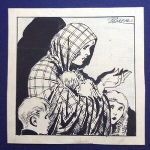 F. L. PACKER Original Signed Pen & Ink Vintage Comic Illustration Woman Children
