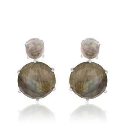 025e8fccc 925 Sterling Silver Crystal Labradorite Gemstone Designer Stud Earrings