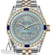 Rolex 36mm Datejust 2Tone Ice Blue String Dial with Sapphire & Diamonds Bezel