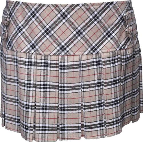 """18/"""" Long Buttons Skirt Cream Tartan Skirt Size 6-16"""