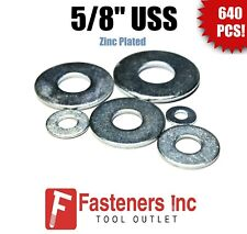 "1/"" SAE Flat Washers Zinc Plated 50LB Box 50# Bulk Box Low Carbon Qty 575"