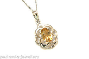 9ct-White-Gold-Citrine-Celtic-Pendant-and-Chain-Made-in-UK-Gift-Boxed-Necklace