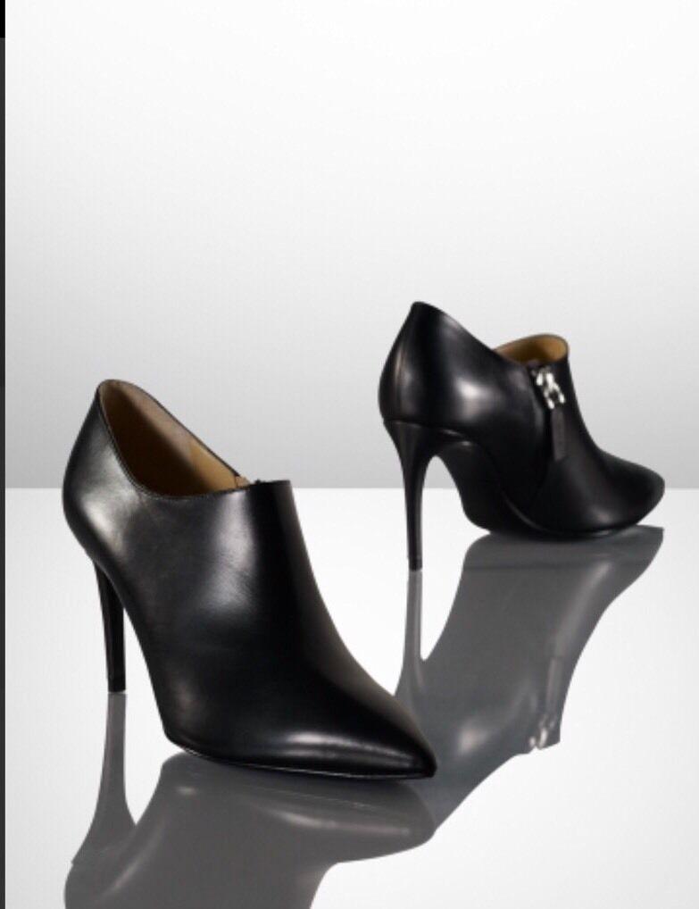 Ralph Lauren Collection arstina Baja Baja Baja De Cuero Negro botas al Tobillo Calzado Nuevo Con Etiquetas  695  9  marca famosa