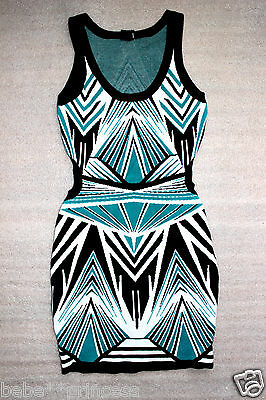 NWT bebe black white green cutout contrast sweater party top dress XS S M L XL