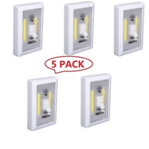 5 PACK Cordless COB LED Wall Switch Wireless Closet Night Light Battery Operated