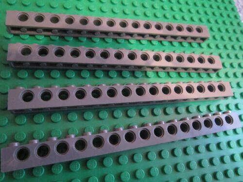 LEGO Technic 4 x extra long 1 x 16 Brick//Beam 15 hole 16 Pin gris foncé