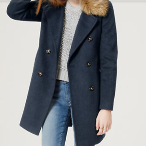 Ann Taylor Taylor Taylor Loft Faux Fur Collar Coat - Forever Navy - NWT  188 - S,M,XL 45e39f