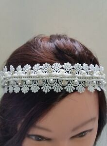 White Lace Crystal Pearl beads Headband Bridal Wedding Hair Accessories N4-15/22