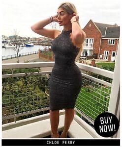 Image is loading AX-Paris-Womens-Grey-Floral-Lace-Midi-Dress- eb909795c