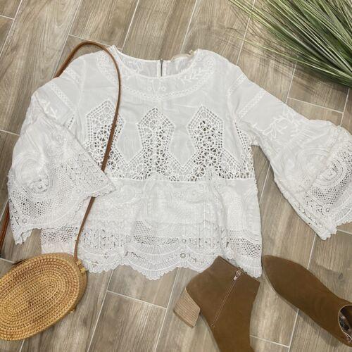 Soft Surroundings White Crochet Lace Eyelet Bell S