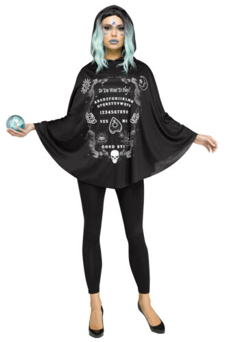 Ouija Spirit Board Womens Adult Witch Halloween Hooded Costume Poncho