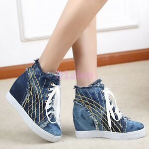 5d981f7a35e Womens Denim Jean Casual HIgh Top Hot Sneakers Trainer Hidden wedge ...