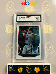 2013-Bowman-Chrome-Bryce-Harper-1-10-GEM-MINT-GMA-Graded-Baseball-Card