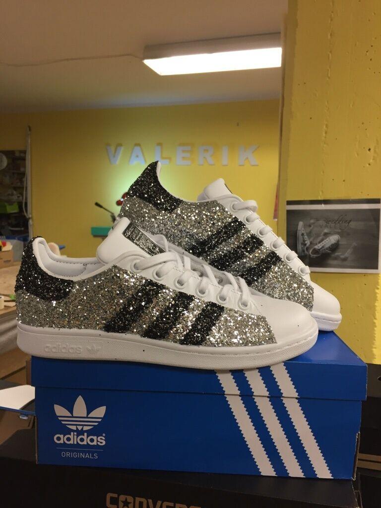 Scarpe adidas stan smith con glitter argento grigio antracite e argento glitter a9eb1a