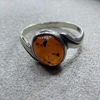 Baltic Amber Ring Signed Sterling Vintage