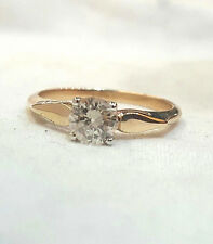 14k yellow gold Vintage  Diamond ring OLD MINE CUT ROUND 0.71ct  J-SI2