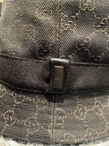 Authentic Gucci Dark Brown Denim Fedora Bucket Hat