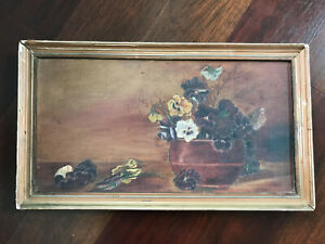 Antique Primitive Folk Art Still Life Flower Vase Oil Painting On Canvas