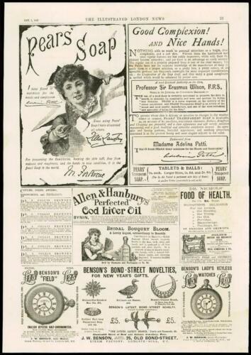 7 ADVERTISING PEARS SOAP ALLEN HANBURY BENSONS BOND STREET 1887