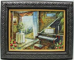 Baby Grand Piano Music Room Original Oil Painting Wall Art