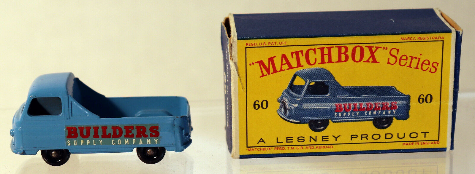 ETTD LESNEY MATCHBOX REGULAR WHEELS 60-1 Builders Supply Vitre Arrière fbpw