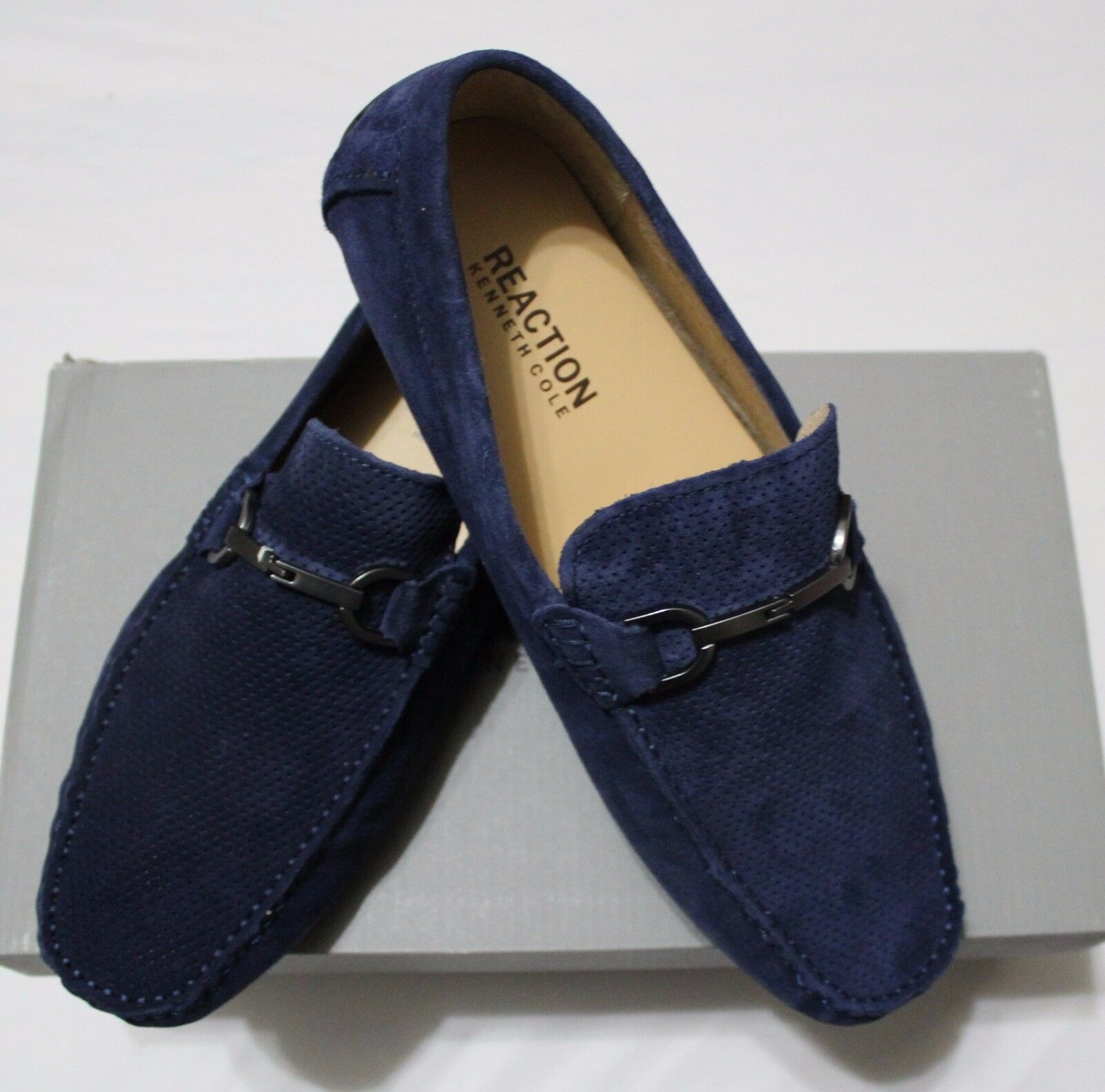 KENNETH COLE REACTION HERD THE WORD NAVY MOC DRIVING SHOES US 10M EU43 UK9.5
